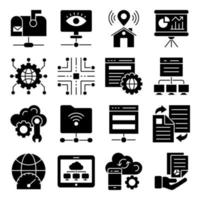 Pack of Cloud Computing Glyph Icons vector