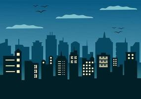 City Landscape Buildings and Architecture Silhouette Vector Background Collage Set