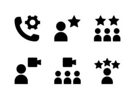 Simple Set of Help and Support Related Vector Solid Icons. Contains Icons as Customers, Cogwheel, Virtual Meeting and more.