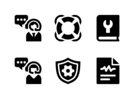 Simple Set of Help and Support Related Vector Solid Icons. Contains Icons as Lifebuoy, Customer Care, Configuration and more.