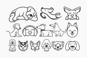 vector libre de arte lineal de perro