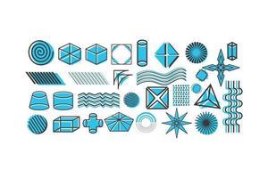 Universal trend halftone geometric shapes set. Blue elements composition. Design elements for Magazine, leaflet, billboard, sale vector