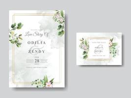 Romantic Floral Wedding Invitation Card vector