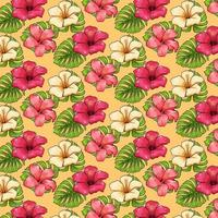 Tropical pattern with exotic plants flowers and leaves in cartoon style vector