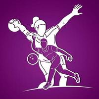 Silhouette Bowling Sport Bowler Action vector
