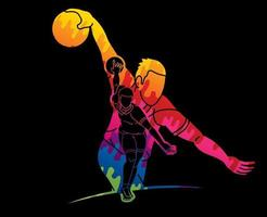 Colorful Bowling Sport Bowler Action vector