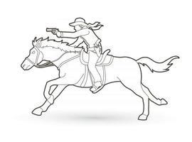 Outline Cowboy Riding Horse with Gun vector