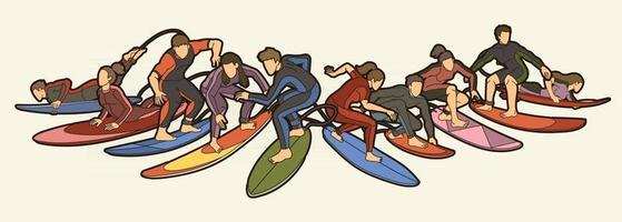 Men and Women Surfer Action Surfing Sport Vector