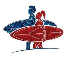 Male and Female Surfing Sport Vector