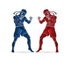 Thailand Kick Boxing Muay Thai vector