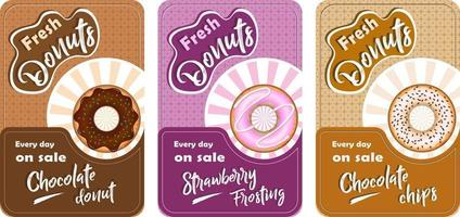 Set of posters with donuts vector