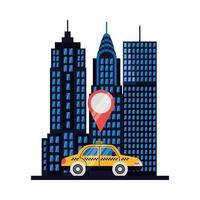 Coche de taxi con diseño de vector de marca gps