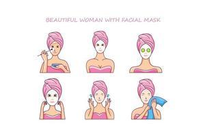 Beautiful woman with facial mask. creative design vector free