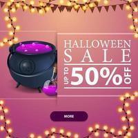 Halloween sale, square pink discount banner with button, garland and witch's pot with potion vector
