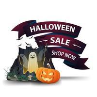 banner de descuento en forma de lazo rosa para halloween con portal con fantasmas y calabaza jack vector