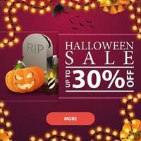 venta de halloween, hasta 30 de descuento, banner de descuento cuadrado rosa con botón, lápida y gato de calabaza vector