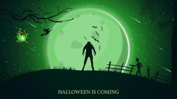 Halloween is coming, beautiful horizontal greeting postcard with green halloween landscape, werewolf, big full moon and zombie vector