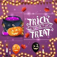 Trick or treat, square purple greeting postcard with witch's pot and pumpkin Jack vector