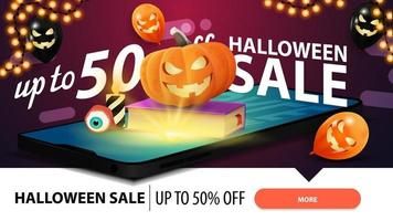 Halloween sale, modern horizontal pink banner for web site with smartphone from which it is projected spell book and pumpkin Jack vector