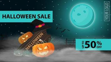Halloween sale, up to 50 off, dark horizontal discount banner with beautiful night halloween landscape, wooden sign and pumpkin Jack in the mist vector