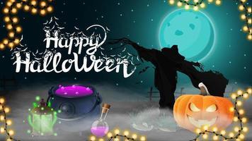 Happy Halloween, dark horizontal postcard with beautiful halloween landscape, Scarecrow and pumpkin Jack in the mist vector