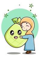 niña musulmana con ilustración de dibujos animados de comida de ramadán vector