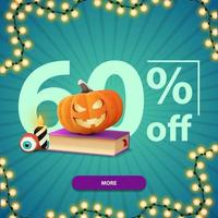 Halloween sale, up to 60 off, square blue discount banner with button, spell book and pumpkin Jack vector