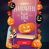 Trick or treat, modern square greeting postcard with spell book and pumpkin Jack. Greeting pink postcard in the form vertical ribbon with Halloween decor vector