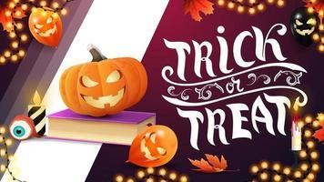 Trick or treat, horizontal pink greeting postcard with halloween balloons, pumpkin, garland, autumn leafs, spell book and pumpkin Jack vector