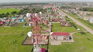 Cell Tower City communications Aerial shoot video