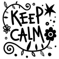 mantén la calma texto floral doodle vector