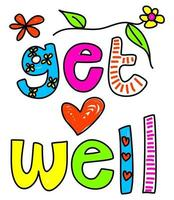 Get Well Text Doodle vector