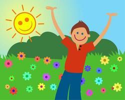 Happy Boy in Daisy Meadow vector