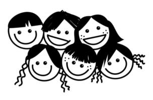 Cute Crowded Kids Faces vector