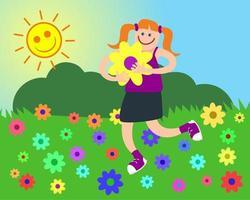 Happy Girl in Daisy Meadow vector