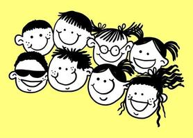 Happy Doodle Crowded Kids Faces vector