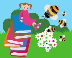 Happy Book Study Garden Girl vector