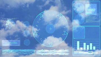 Monitor radar investigate digital technology with element monitoe of cloud sky analysis data graph bar and graphic for climate and weather video