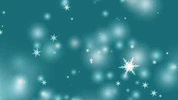 asa de espinho de seis estrelas de floco de neve caindo na tela preta, elemento de partículas de pó de gelo para o natal e véspera de natal fundo ciano escuro video