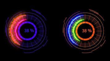 compteur numérique puissance énergie rouge orange fusion puissant pour bannière et analyse publicité video