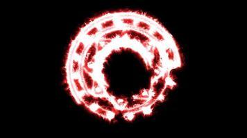 zeshoekige vuurkracht overweldigend rond krachtige magische rode vlam video