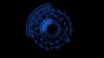 magische zessterren blauwe energie roteren langzaam verschijnen voor banner en adverteren video