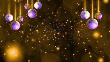Balls lights hang on ceiling and deep gold snow and ice dust falling very slow and faded in the winter season and blink luxury golden tone background video