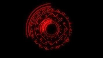 magische zessterren rode energie roteren langzaam verschijnen voor banner en analyse adverteren video