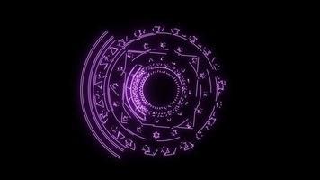magische zessterren lichtpaarse energie roteren langzaam verschijnen voor banner en analyse adverteren video