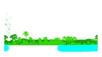 vela correndo sobre o rio azul e o fundo da colina da floresta folhas verdes voando para banner youtune mídia social descrição do título da letra toptc e texto da animação do título video