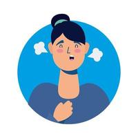 young woman sick with fever avatar character vector