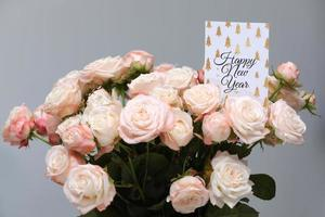Happy New year pink roses photo
