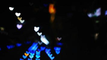 Blurred maganta shape hearts on floor beautiful night light in a nice day video