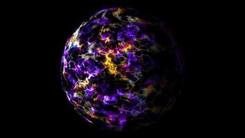 Resumen púrpura visualización tecnología de onda digital oro energía esfera partículas superficiales fuera video